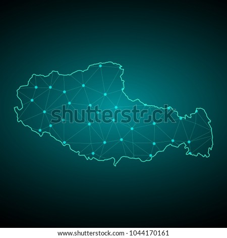 map of tibet wire frame 3d