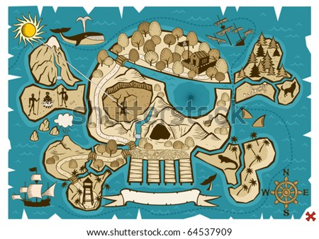 Map of  treasure island in the shape of skull and bones. Use the X in the lower right corner to mark the place of the treasure.