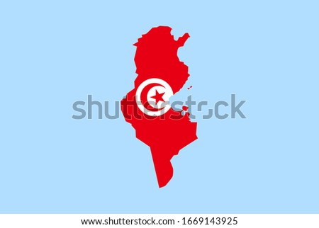 Map of Tunisia on a blue background, Flag of Tunisia on it.