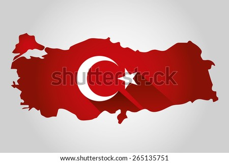 Map of Turkey and national flag symbols, White Background
