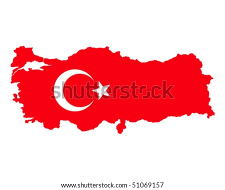 map of turkey filled with flag