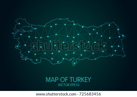 Map of Turkey - With glowing point and lines scales on The Dark Gradient Background, 3D mesh polygonal network connections. Vector Illustration eps 10.