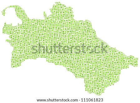 Map of Turkmenistan - Asia - in a mosaic of green squares