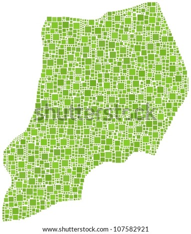 Map of Uganda (Africa) in a mosaic of green squares. A number of 2555 little squares are accurately inserted into the mosaic. White background.
