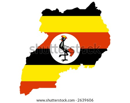 map of Uganda and Ugandan flag illustration