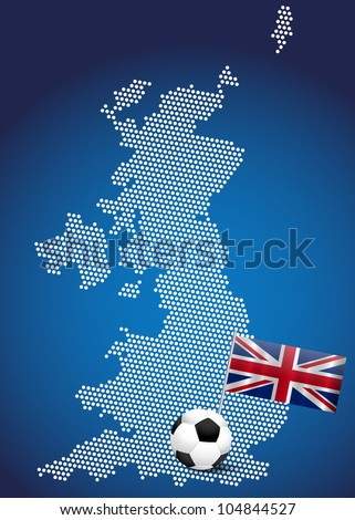 Map of UK with flag and football ball, illustration