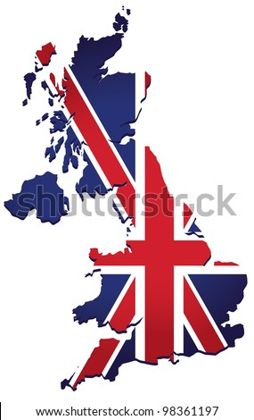 map of UK with the image of the national flag - stock vector