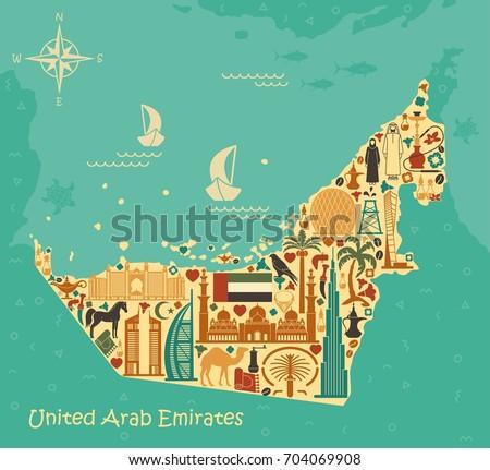 Map of United Arab Emirates consisting of the traditional symbols of Dubai