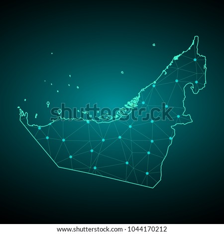 Map of  United Arab Emirates. Wire frame 3D mesh polygonal network line, design sphere, dot and structure. communications map of  United Arab Emirates. Vector Illustration EPS10.