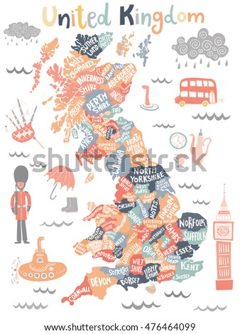 map of united kingdom with