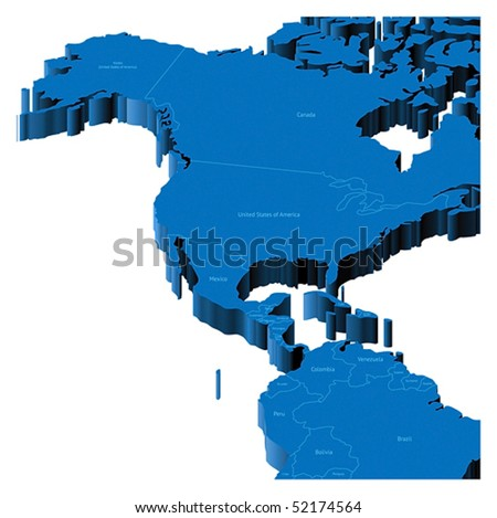 Map of United States, Alaska, Central America with national borders and country names. Pseudo-3d vector illustration.