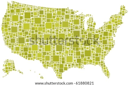Map of United States of America. A number of 1586 squares are inserted into the mosaic