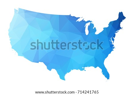 Map of United states of America - Blue Geometric Rumpled Triangular , Polygonal Design For Your . Vector illustration eps 10.