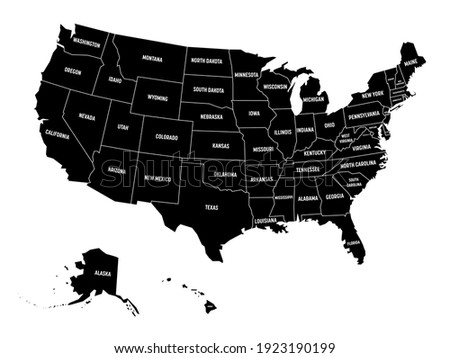 Map of United States of America, USA, with state name labels. Solid black vector map. Photo stock ©