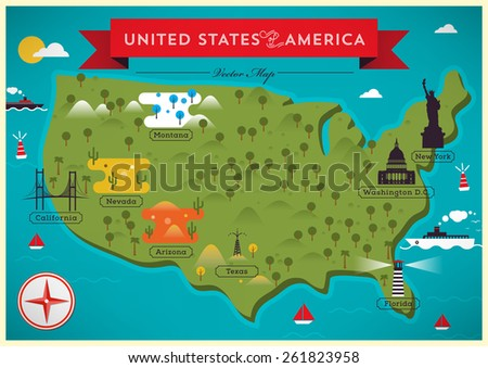 united states map illustration - Rama.ciceros.co