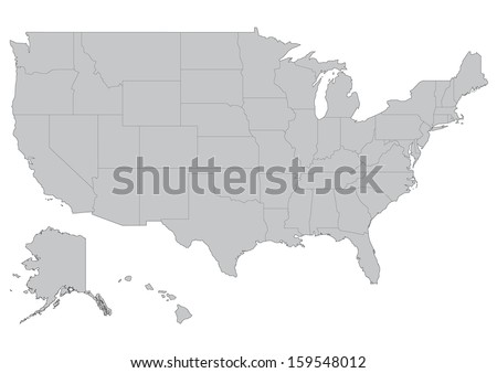 Shutterstock Map of United States of America: vector set. Detailed country shape with region borders isolated on white background.