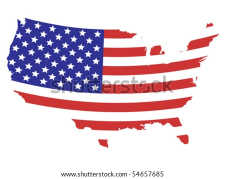 Map of United States of America with American flag design