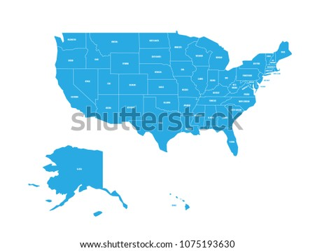 map of united states of america with state names simplified dark grey silhouette vector map