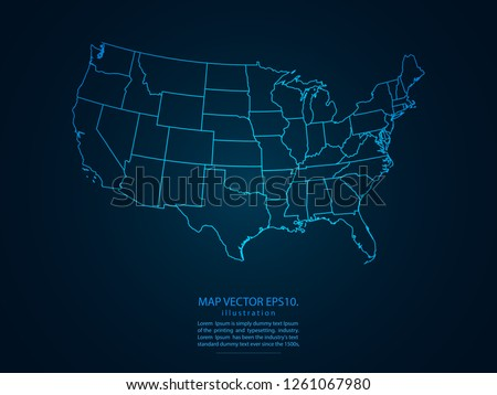 Map of usa,Abstract mash line and point scales on dark background for your web site design map logo, app, ui,Travel. Vector illustration eps 10.