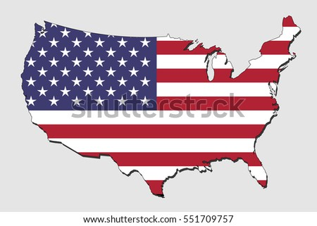map of usa  filled with the