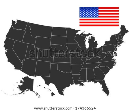 Map of USA in black color. Vector illustration.