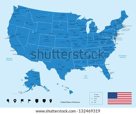 Map of USA in blue color. Vector illustration.