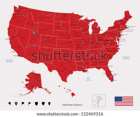 Map of USA in red color. Vector illustration.