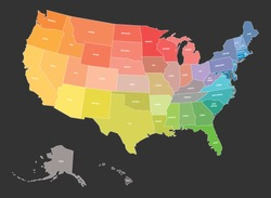 Map of USA, United States of America, in colors of rainbow spectrum. With state names.