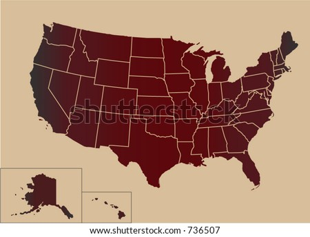Map of USA with separable borders. Check portfolio for more USA, Japan, China, Middle East...
