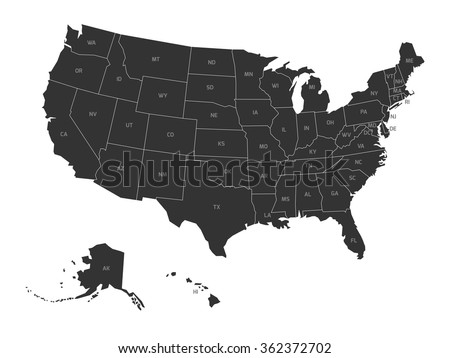 Free US Map Silhouette Vector - Us abbreviations map