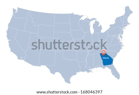 map of usa with the indication of state of georgia and atlanta