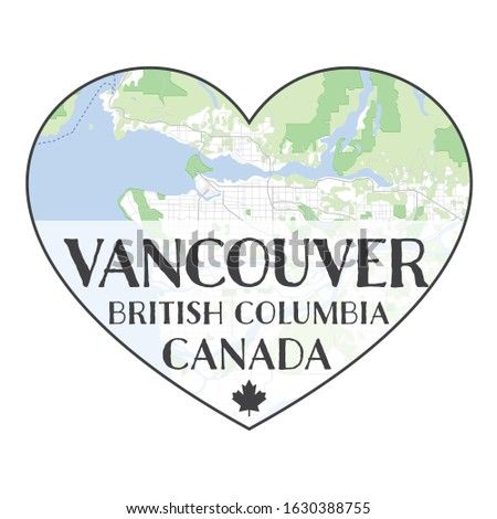 map of vancouver inside heart
