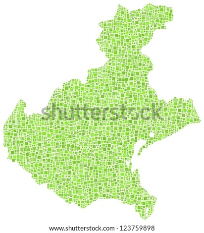 Map of Veneto - italy - in a mosaic of green squares. A number of 4813 little green squares are accurately inserted into the mosaic. White background.