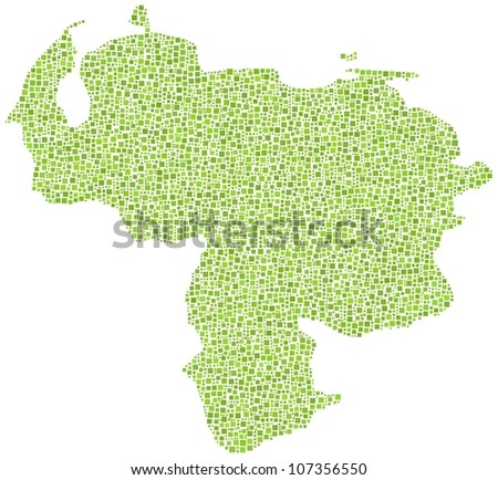 Map of Venezuela (America) in a mosaic of green squares