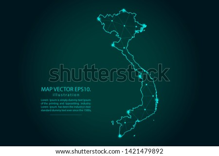 Map of vietnam - Abstract mash line and point scales on dark gradient background. Wire Frame 3D mesh polygonal network line, design sphere, dot and structure. Vector illustration eps 10