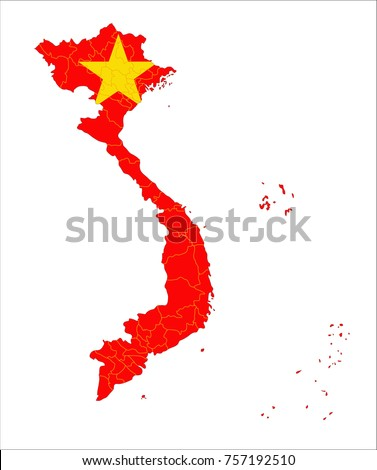 Map Of Vietnam With Flag Isolated On White Background.