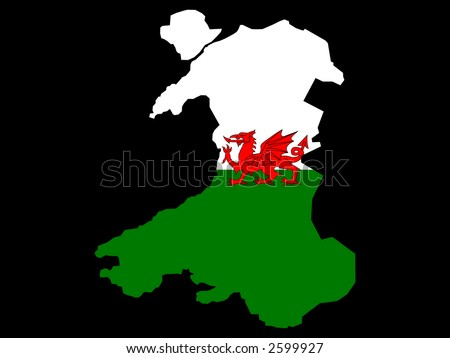 stock vector : map of Wales and Welsh flag illustration