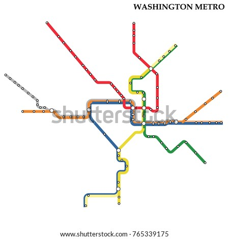 Map of Washington DC metro, Subway, Template of city transportation scheme for underground road. Vector illustration