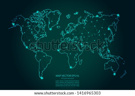 Map of world - Abstract mash line and point scales on dark gradient background. Wire Frame 3D mesh polygonal network line, design sphere, dot and structure. Vector illustration eps 10