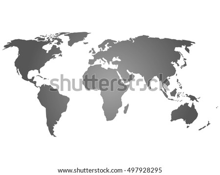 map of world grey silhouette vector illustration with gradient on white background