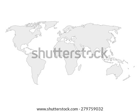 Map of world with black outline and gray fill, vector illustration #279759032