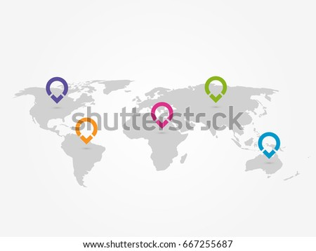 Map of World with navigation pointers. Grey map infographics with colorful ring pins. Vector illustration.