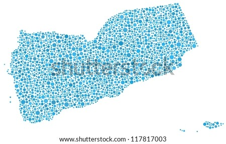 Map of Yemen in  mosaic of blue bubbles