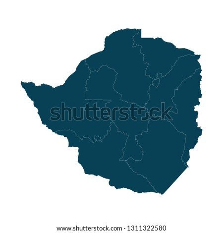 Map of Zimbabwe - High detailed on white background. Abstract design vector illustration eps 10.