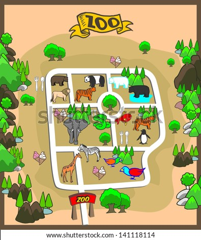 Vector Images, Illustrations and Cliparts: map of zoo park ... on grey's anatomy illustration, food illustration, animal illustration, gypsy wagon illustration, playground illustration, pie illustration, park illustration, beach illustration, photography illustration, love illustration, winery illustration, camping illustration, lion illustration, violin illustration, noahs ark illustration, aquarium illustration, zoological illustration, nature illustration,