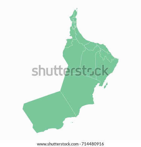 Map-Oman map. Each city and border has separately. Vector illustration eps 10.