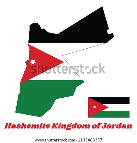 map outline and flag of jordan
