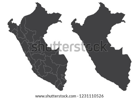 Map - Peru Couple Set , Map of Peru,Vector illustration eps 10.