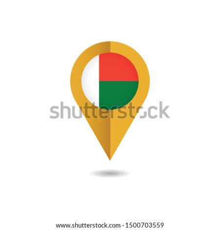Map pin flag of Madagascar, Madagascar flag template design. Vector Eps 10