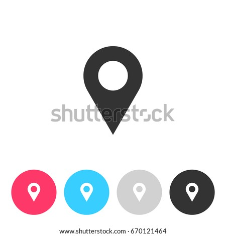 Map pin icon isolated on white background. Button with symbol for your design. Vector illustration, easy to edit.